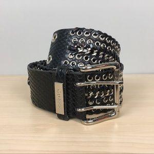 Guess black biker belt L grommets